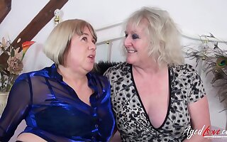 Two horny pornstars Auntie Trisha and Claire Knight have sex with two big cocks