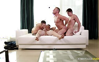 Gay foursome with guys with long fat cocks and a lot of blowjobs