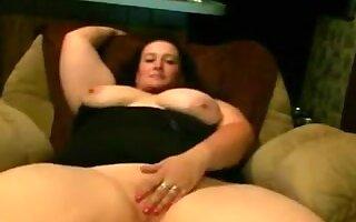 Overweight big beautiful woman Girlfriend with large wobblers masturbating her Twat