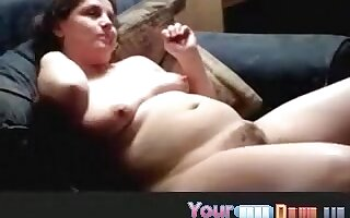 Chubby nerdy girl masturbates with a smile on her face and blows her bf