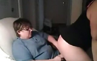 Nerdy glassed lesbian couple oral, doggystyle and reverse cowgirl sex on cam with a strapon.