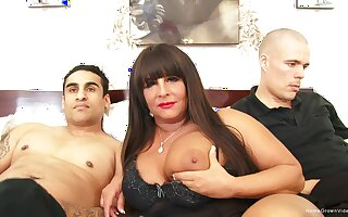 Busty BBW milf gets pounded by two young guys