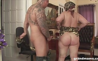 Horny granny with a phat ass fucks a person to a powerful orgasm