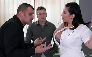 MILF with broad in the beam Asian curves, strong threesome on cam