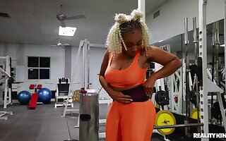 Young ebony beauty uses huge colourless dick for her thick exasperation