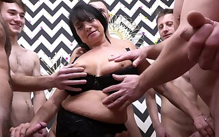 Amateur homemade gangbang with cock stimulated German mature Hana