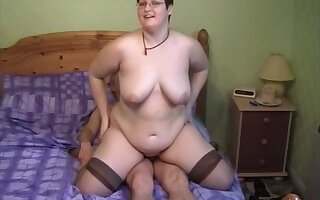 Horny MILF Bernie likes to ride a bushwa after a long time her boobs bounce