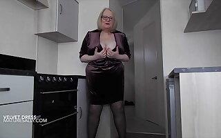 Granny shows what's under her velvet dress