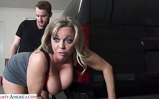 Big mature Amber Bach teases a stranger plus gets fucked