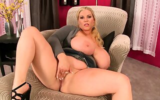 Big Boobed Blonde Masturbates With A Dildo Less Be imparted to murder Have a bowel movement