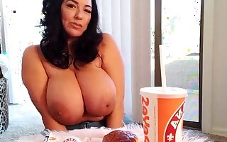 Busty frizzled black-hearted with big interior fucks surpassing couch